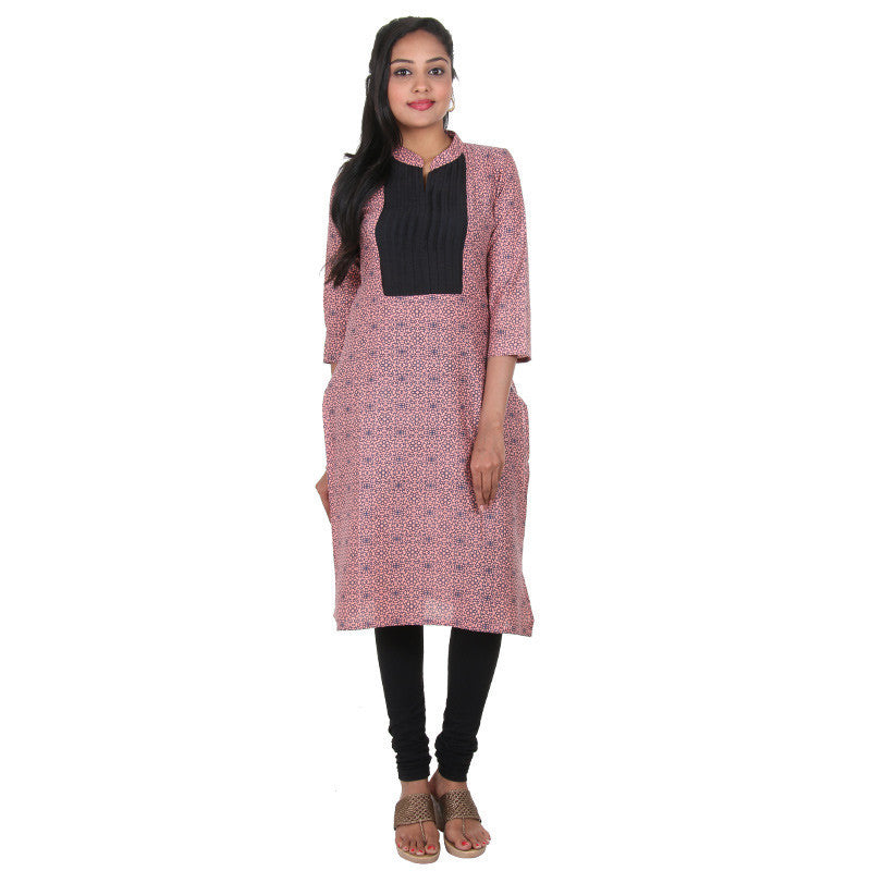 Papaya Punch Peach With Contrast Black Pin-Tuck Yoke Pure Cotton Casual Kurta From eSTYLe