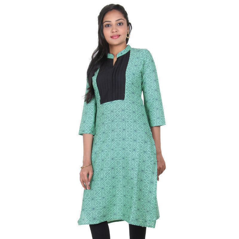 eSTYLe Green Ash Mixing Bright Black All Over Prints Pure Cotton Occasion Wear Kurta