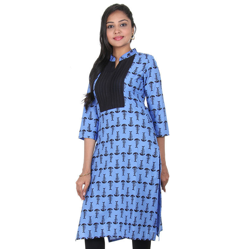 CornFlower Blue Stand Collar With Simple Placket Pure Cotton Stylish Kurta From eSTYLe