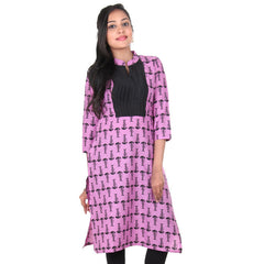 eSTYle Opera Mauve Pink With Black Colour Bone All-Over Prints Pure Cotton Trendy Fusion Kurta