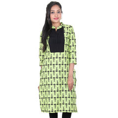 Daiquiri Green & Contrast Black Colour Bone Print Designed Pure Cotton Modish Kurta From eSTYLe