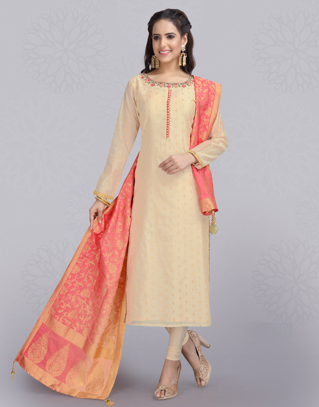 Sandal 'N' Pink Chanderi Cotton Salwar Suit