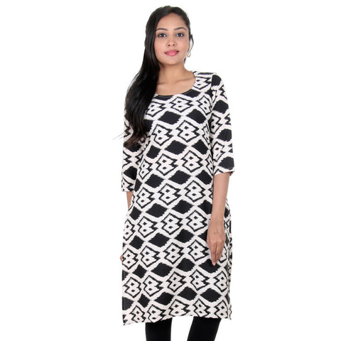 Jet Black With Snow White Diamond & Zig-Zag All-Over Print Designed Kurta From eSTYLe