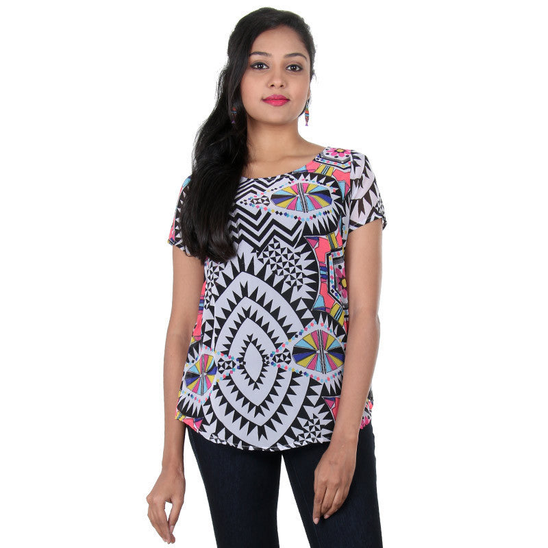 Multi Colour Mixing Prints Design Made Western Top From eSTYLe