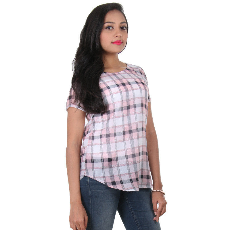 eSTYLe Peach Melba Box Check Designed Prints Polyster Modern Top