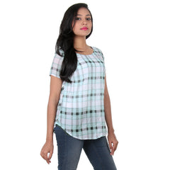 eSTYLe Ice Green With Black Box Checked Print Design Royal Polyster Top