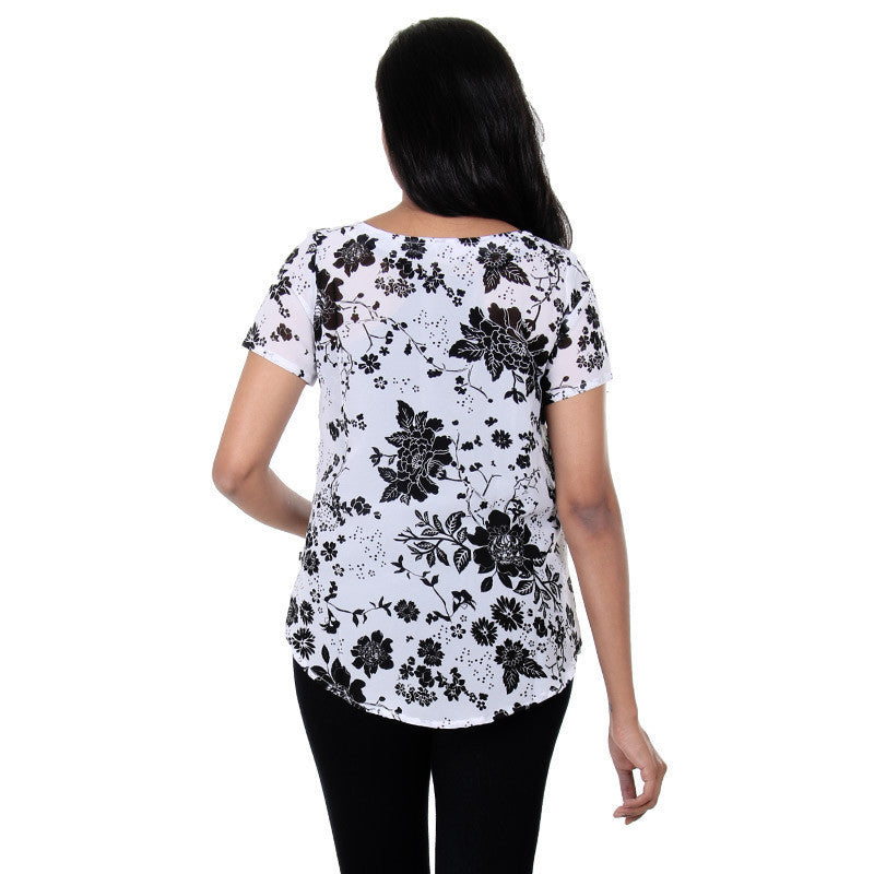 Bright White Mixing With Beautiful Black Floral Prints Top From eSTYLe