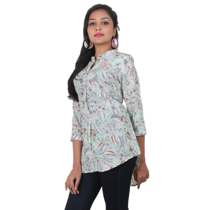 Brook Green And Multi Colour Floral & Leaves Prints Indo-Western Top From eSTYLe