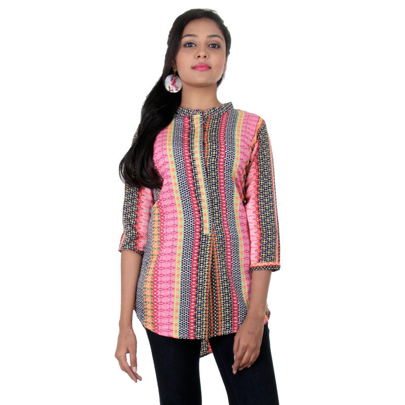 eSTYLe Pink Carnation And Tri-Colours Combined Ethnic Prints Pure Polyster Indo-Western Top