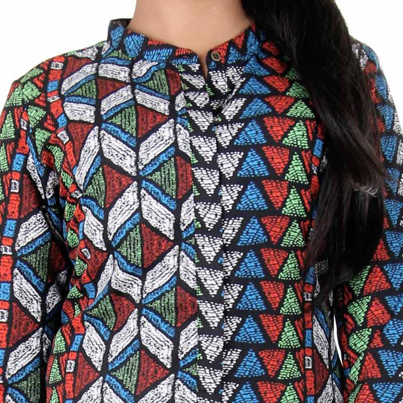 Pirate Black And Multi Colour Plenty Designed Prints Indo-Western Top From eSTYLe