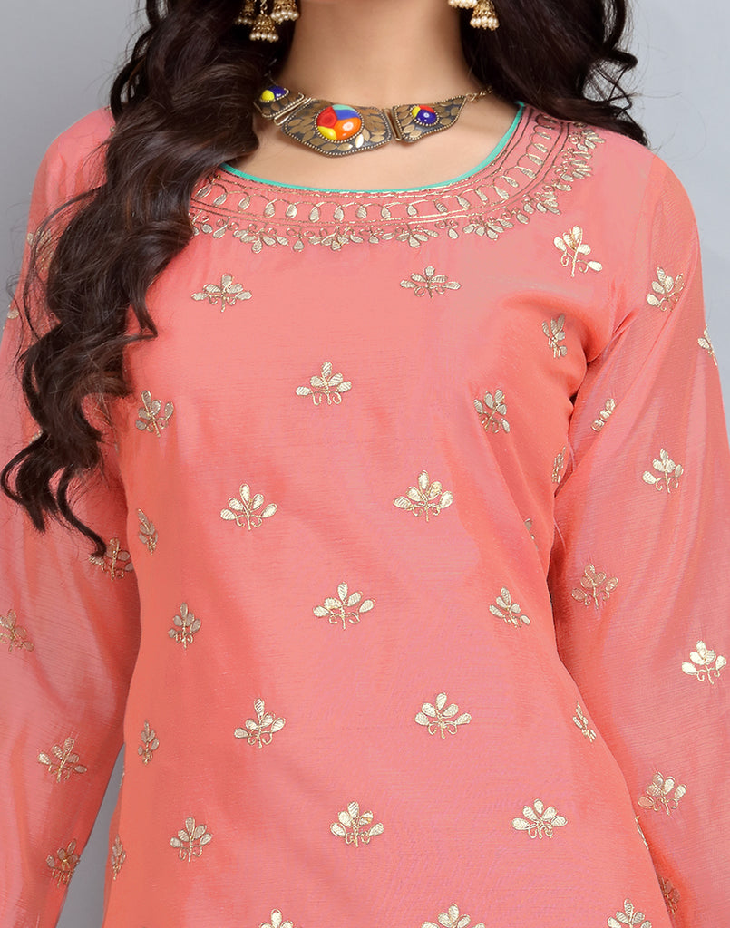 Pink 'N' SkyBlue Anarkali Chanderi Cotton Palazzo Suit