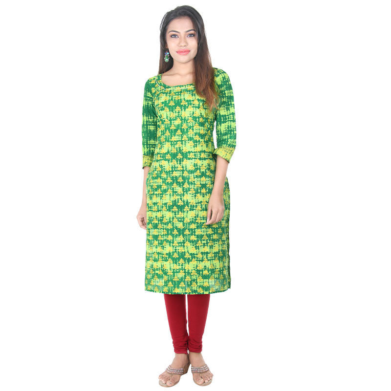 Jelly Bean N' Leaf Green Golden Motif Straight-Cut Kurta From eSTYLe