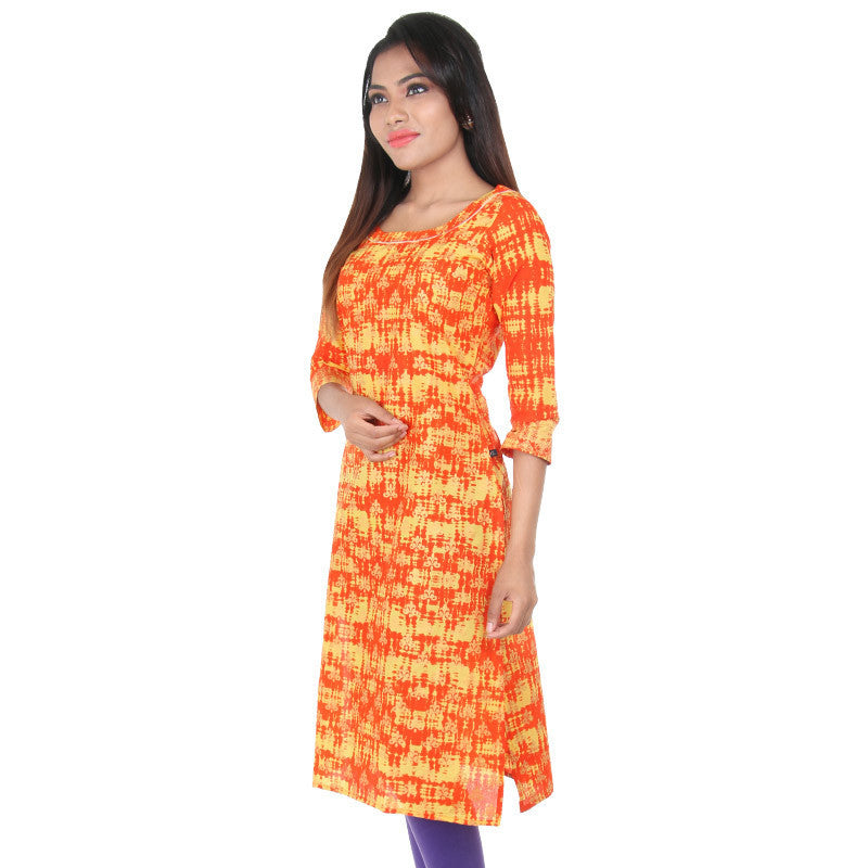 eSTYLe Spicy Orange With Amber Yellow Dyed Cotton Straight-Cut Kurta