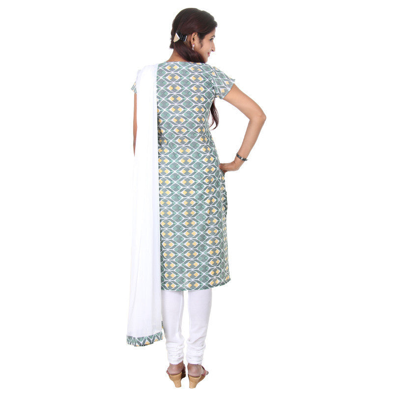 eSTYLe Dark Green With White Motif Prints & Embroidered Yoke 3-Piece Salwar Suit