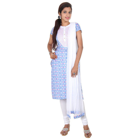 Marina Blue Stylish Ethnic Prints & Embroidered Yoke eSTYLe 3-Piece Suit Set