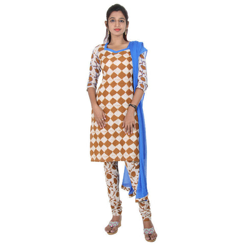 eSTYLe 3Pce Suit - Brown With Sandal Chess Prints Cotton kurta, Salwar And Chiffon Duppatta