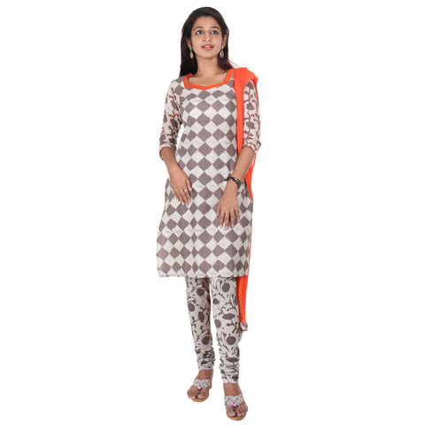 eSTYLe 3Pce Suit - Brown With Beige Chess Prints Cotton kurta, Salwar And Chiffon Duppatta