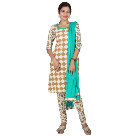 eSTYLe 3Pce Suit - Chess Prints With Embroidered 3/4th Sleeves Cotton kurta, Salwar And Chiffon Duppatta