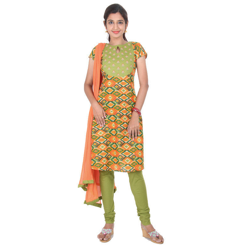 eSTYLe Multi Block Prints With Embroidered Yoke 3-Piece Suit Set
