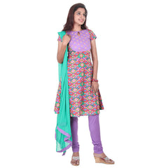 Lavender With Multi Block Prints & Short Sleeves Cotton 3-Piece Suit Set From eSTYLe
