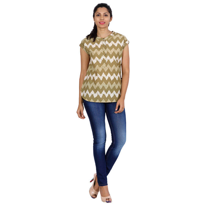 Mild Olive Kimono Sleeve Casual Top From eSTYLe