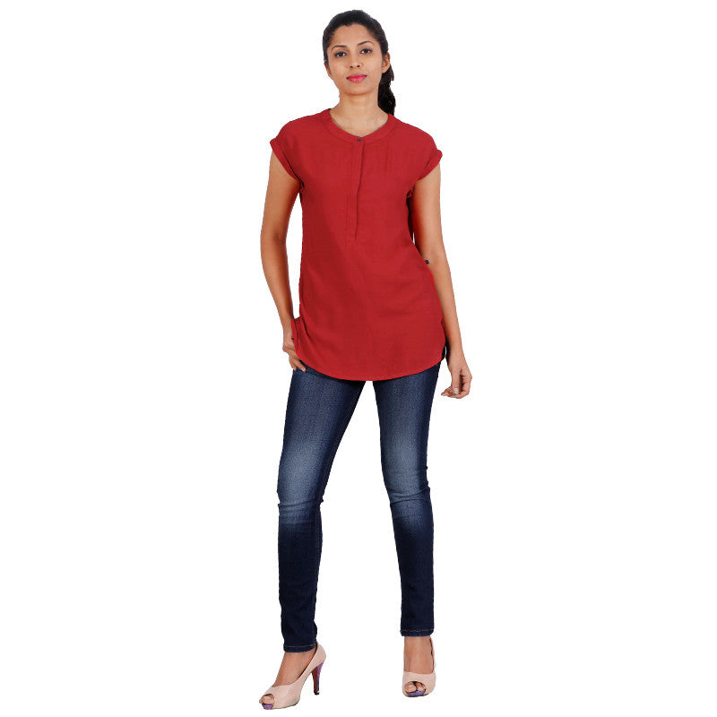 eSTYLe Lollipop Red Casual Top-Stand Collar With Buttoned Placket