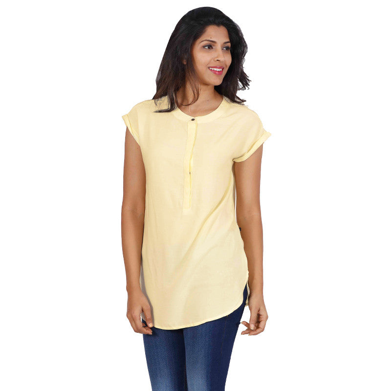 eSTYLe Vanilla Cream Western Top-Stand Collar With Button Placket