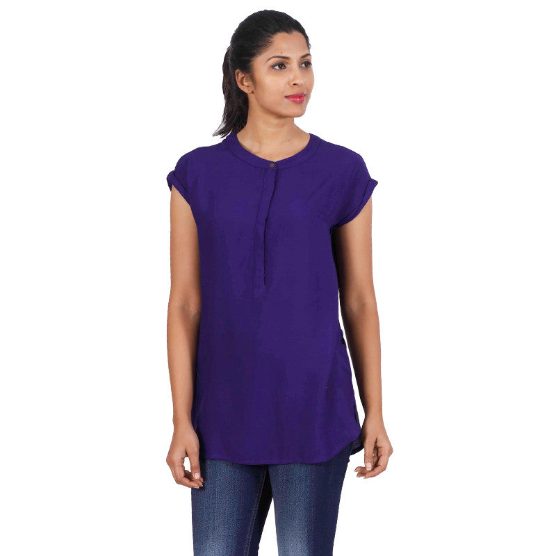 Spectrum Blue Stand Collar With Kimono Sleeves Top From eSTYLe