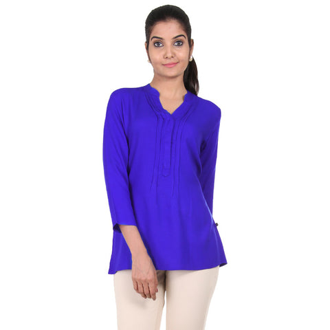 eSTYLe Amparo Blue Indo-Western Top With PinTuck Yoke