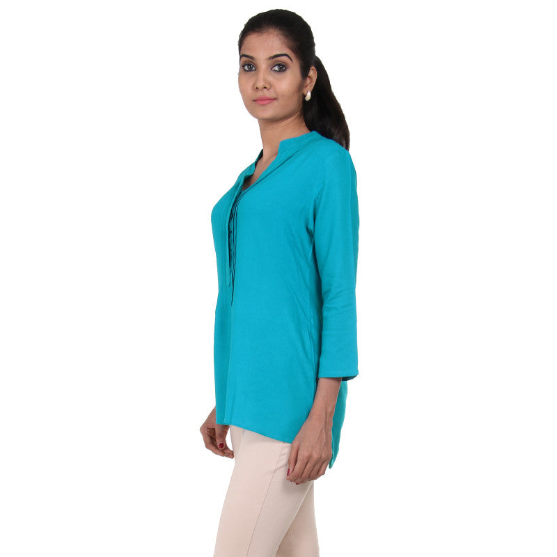 eSTYLe Peacock Blue Modern Top With Pin Tuck Yoke