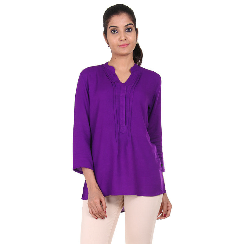 eSTYLe Pansy Purple Rayon Top With Buttoned Placket