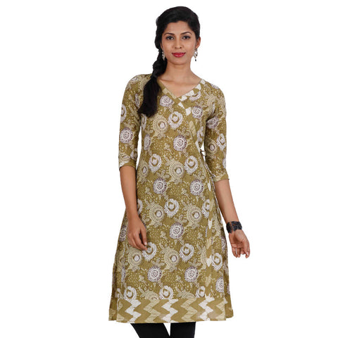 eSTYLe Bronze Mist Three-Quarter Sleeves Cotton Angarkha