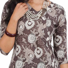 Seal Brown All-Over Motifs eSTYLe Cotton Angarkha