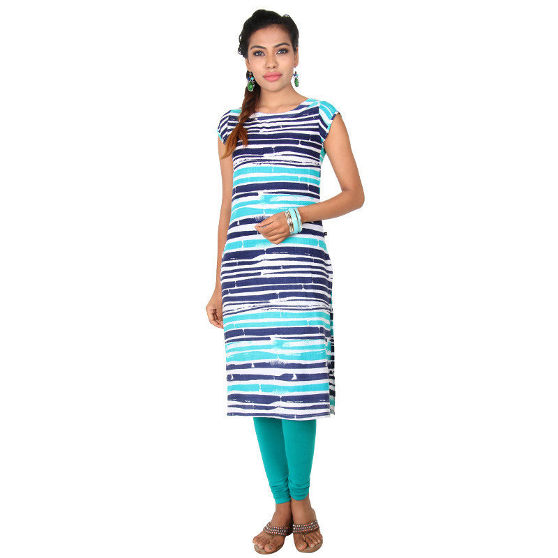 Ceramic Green Horizontal Prints Straight-Cut Kurta From eSTYLe