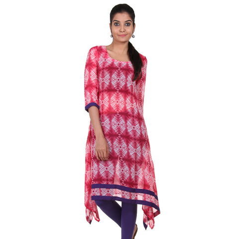 Rose Red All-Over Dyed Prints Asymmetric Kurta From eSTYLe