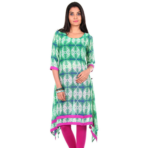 eSTYLe Pepper Green 3/4th Sleeves Asymmetric Kurta