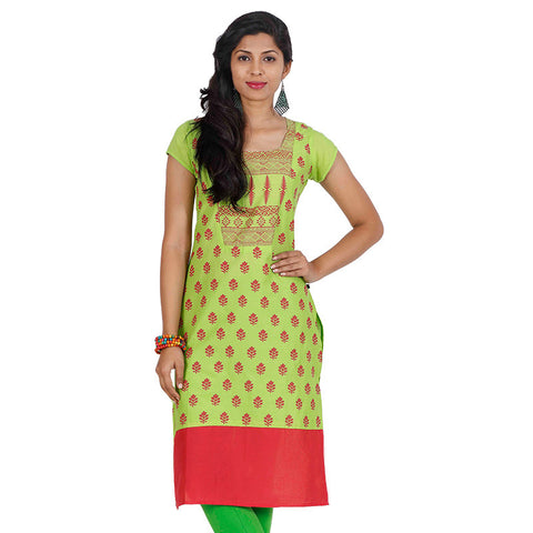 Green Glow Square Neckline Cotton Kurta From eSTYLe