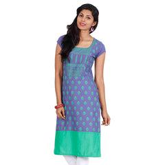 eSTYLe Aster Purple Cotton Kurta With All-Over Motifs