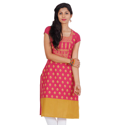 Beetroot Pink Ethnic Motif Yoke Cotton Kurta From eSTYLe