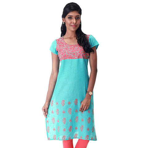 eSTYLe Floral Printed Aqua Blue Slub-Cotton Straight Cut Kurta