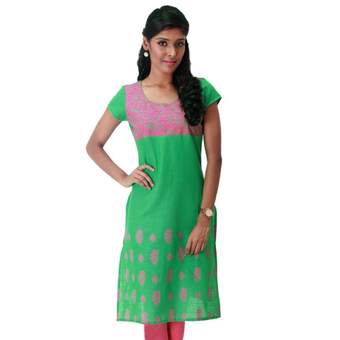 eSTYLe Floral Printed Green Slub-Cotton Straight Cut Kurta