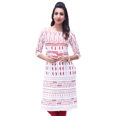 Bright White Printed Rayon Straight-Cut Kurta