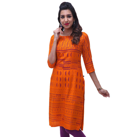 Orange Popsicle Printed Rayon Straight-Cut Kurta