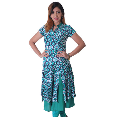 Deep Lake Layered Rayon Kurta With Ikat Prints