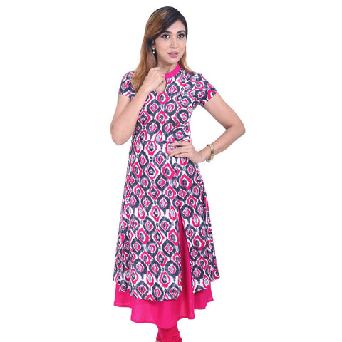 Beetroot Purple Layered Rayon Kurta With Ikat Prints