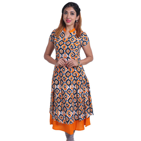 Autumn Glory Layered Rayon Kurta With Ikat Prints