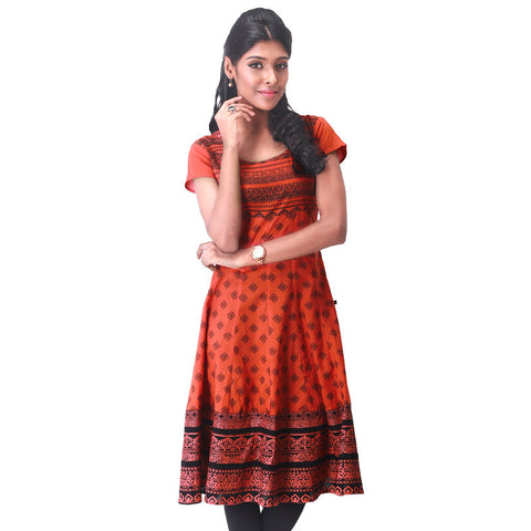 Victorian Motif Prints On Red Cotton Anarkali Kurta From eSTYLe