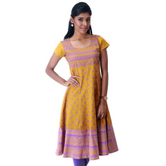 Victorian Motif Prints On Mustard Cotton Anarkali Kurta From eSTYLe