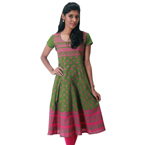 Victorian Motif Prints On Green Cotton Anarkali Kurta From eSTYLe