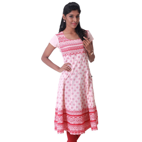 Victorian Motif Prints On Peach Cotton Anarkali Kurta From eSTYLe
